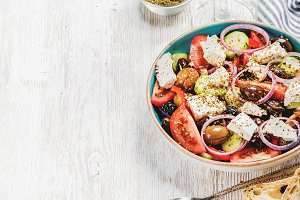 Greek salad with bread