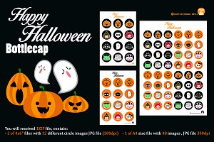 Digital Clipart Halloween Bottlecaps