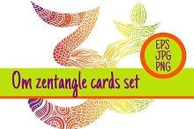 3 sign Om zentangle cards set