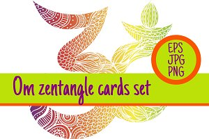 3 sign Om zentangle cards set