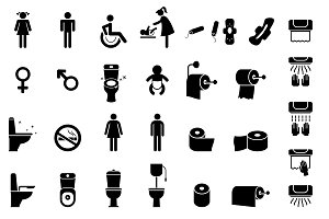 Icons toilet and bathroom.