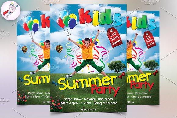 kids party flyer flyer templates creative market