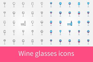 Wine glasses icons set