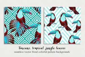 Toucans colorful abstract patterns