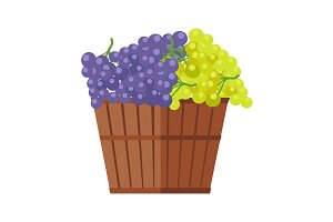 Barrel with Bunches of Wine Grape