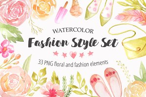 Watercolor Fashion Style Set
