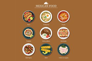 set of mexican food flat design