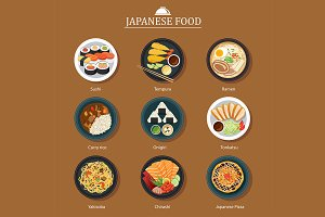 set of japanese food flat design