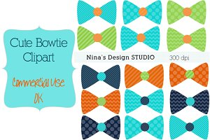 Bowtie Clipart-Green, Navy and Gren