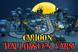 Cartoon Halloween Farm