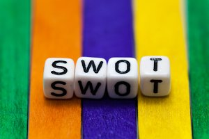 SWOT analysis blocks arranged in order on colorful wooden pad