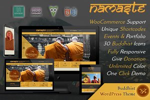 WordPress Non-Profit Themes: Webzakt - Namaste - Buddhist WordPress Theme