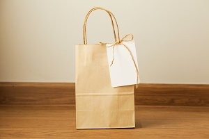 Empty shopping bag with card attached - ready for adding text and graphics
