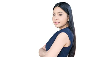 Asian woman having arms folded isolated on white background
