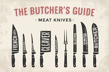 Meat cutting knives set