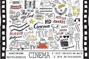 Cinema Sketched Doodles Vector Set