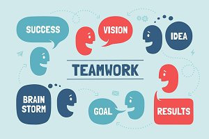 Teamwork. Team people & cloud talk