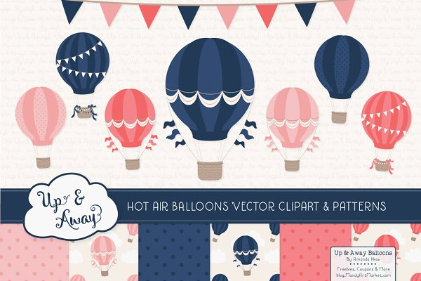 Navy & Blush Hot Air Balloons