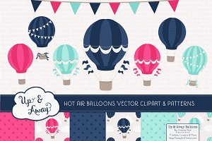 Navy & Hot Pink Hot Air Balloons