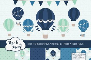 Navy & Mint Hot Air Balloons