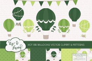 Shades of Green Hot Air Balloons