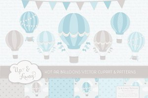 Soft Blue Hot Air Balloons
