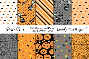 Boo Too Halloween Digital Papers