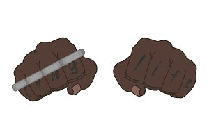 Clenched black man fists. Vector