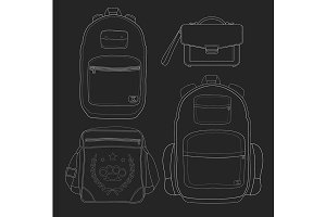 Set of 4 men's bags. Vector