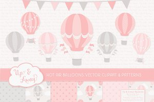 Soft Pink & Grey Hot Air Balloons