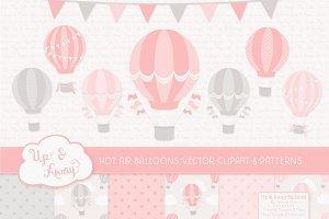 Soft Pink & Grey Hot Air Balloons