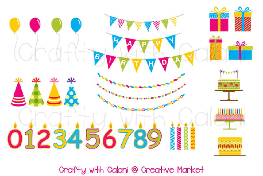 Children Birthday Party Clipart Illustrations Creative Market