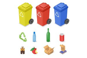 Waste sorting cans & trash