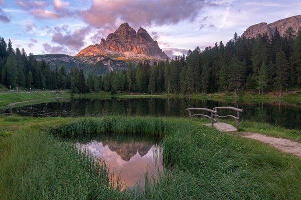 Mountain reflection at sunset