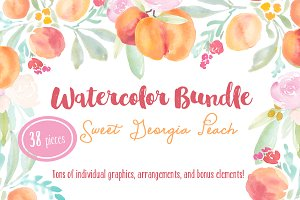 Watercolor Peaches Bundle