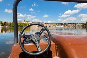 Water bike on Vltava river, Prague.