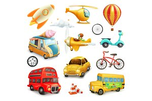 Cartoon transportation vector icons