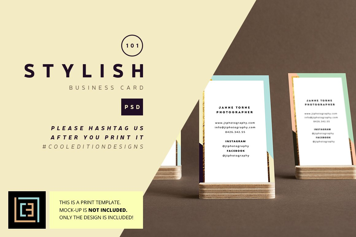 Stylish - Business Card 101 ~ Business Card Templates ~ Creative Market
