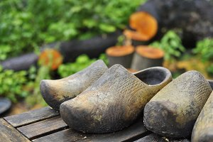 Dutch wooden shoes on a table
