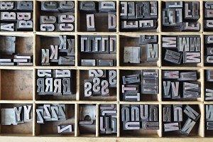 Letterpress letters in a wooden box