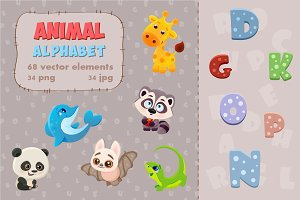 Vector cartoon animal alphabet. Set.