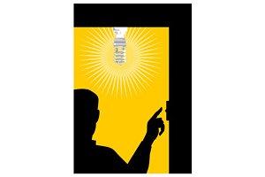Man Switching On Lighting Bulb