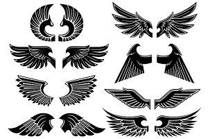 Heraldic angel wings icons