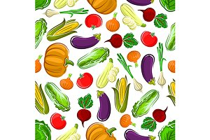 Seamless pattern of farm veggies