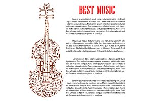 Musical design template with violin