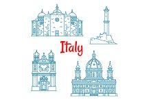 Italian travel landmarks thin icons