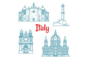 Italian travel landmarks thin icons