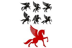 Pegasus horses silhouettes