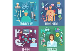 Medical professions icons set