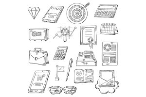 Business sketch icons
